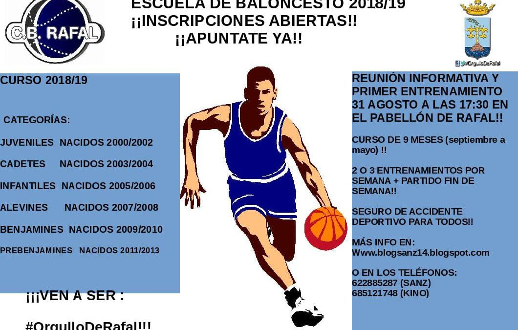 Inscripció Escola de Bàsquet C.B Rafal