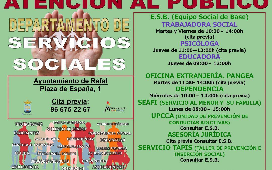 Horario Servicios Sociales Ayuntamiento de Rafal