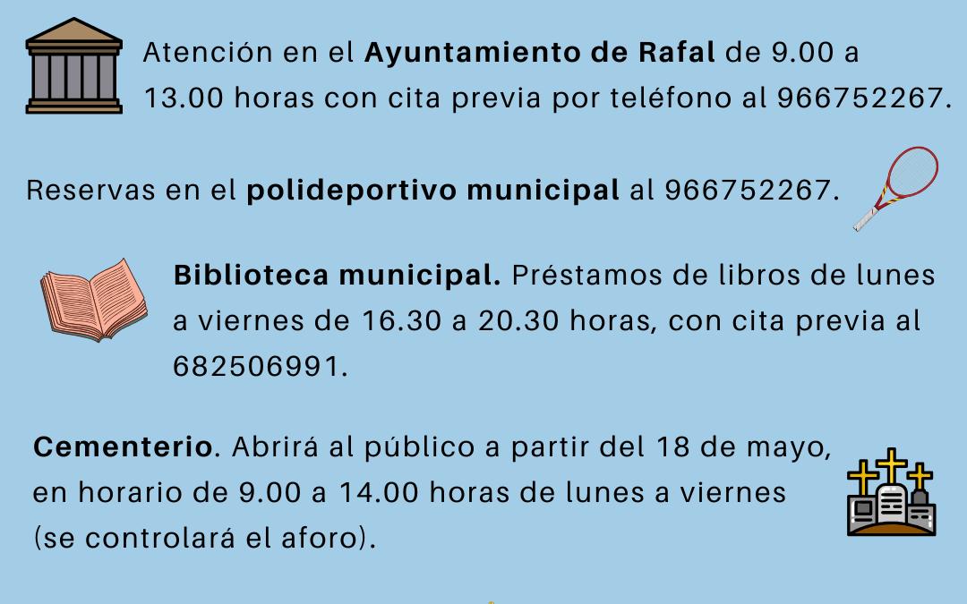Bando del Ayuntamiento de Rafal sobre apertura de instalaciones municipales en Fase I