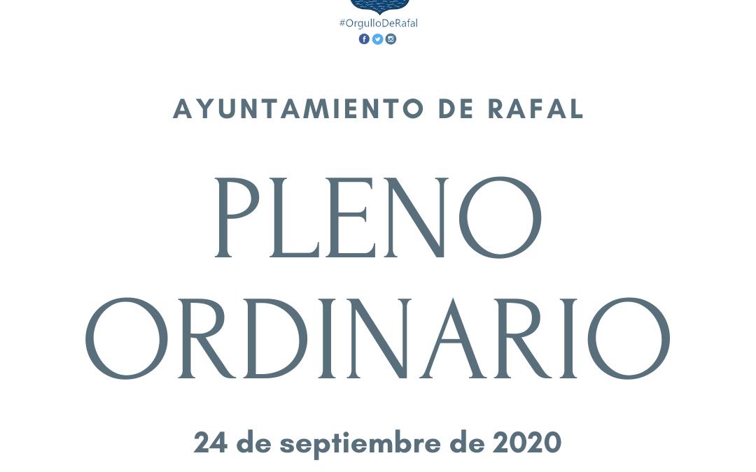 Pleno Ordinario del Ayuntamiento de Rafal (24 de septiembre de 2020)