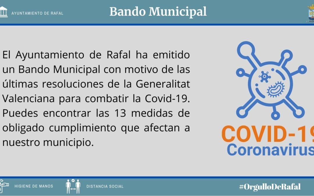 Bando con las últimas regulaciones de la Generalitat Valenciana que afectan al municipio de Rafal