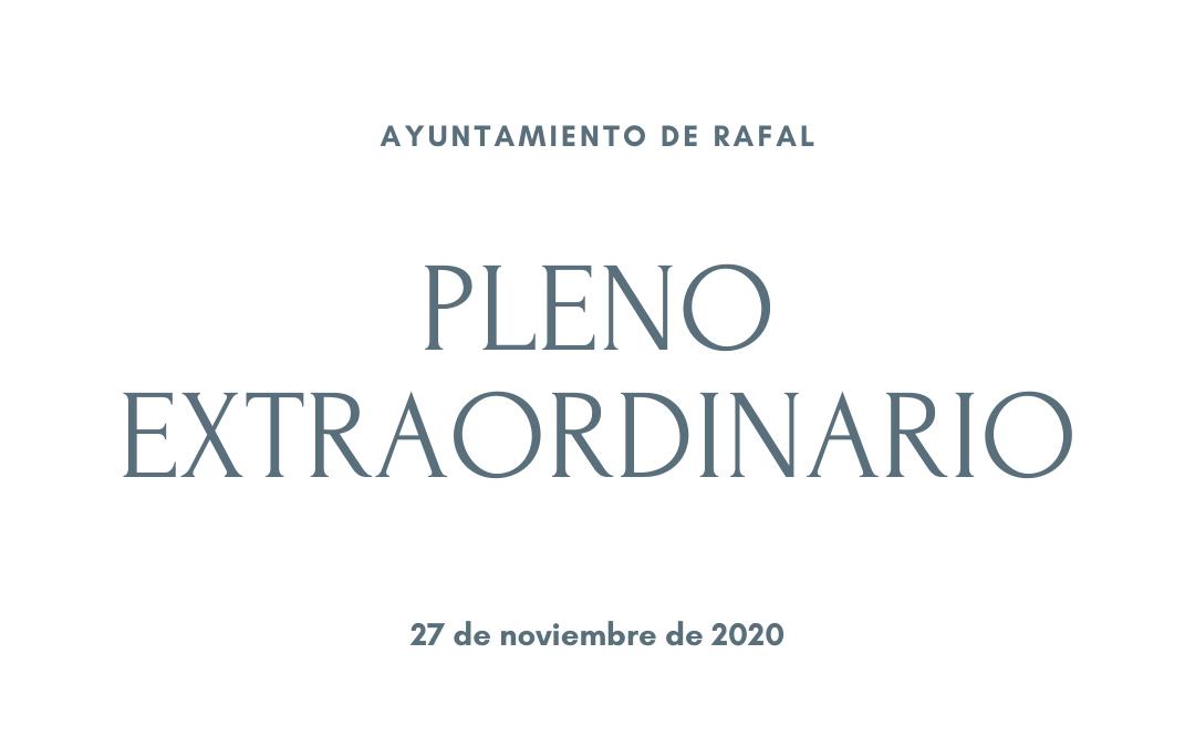 El Ayuntamiento de Rafal celebra un pleno extraordinario el viernes 27 de noviembre de 2020