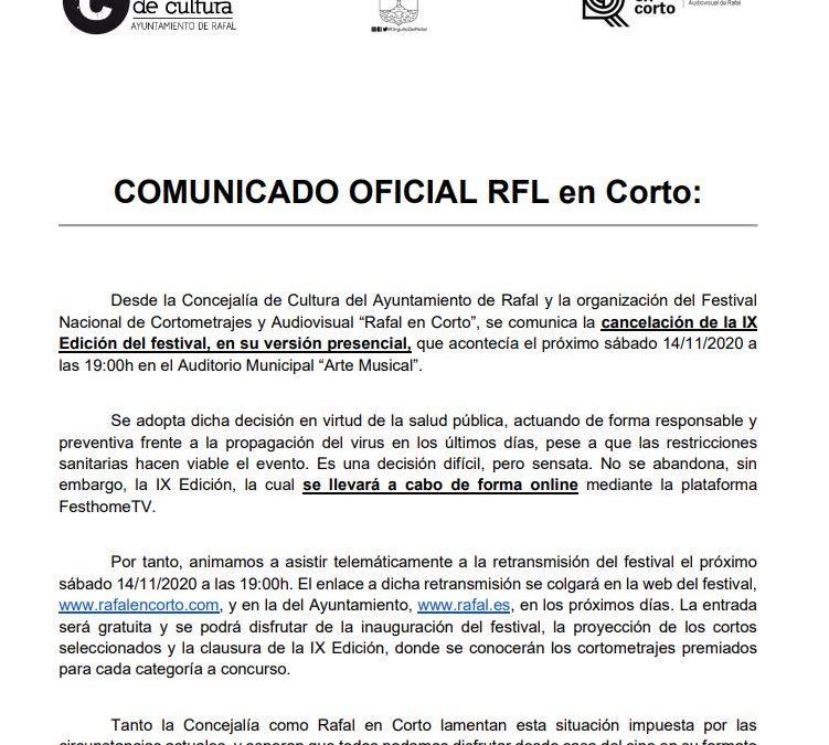 El Festival de Cortometrajes 'Rafal en Corto' se podrá disfrutar solo online