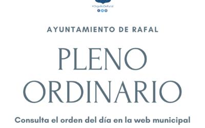 Pleno Ordinario del Ayuntamiento de Rafal, 28 de junio de 2021