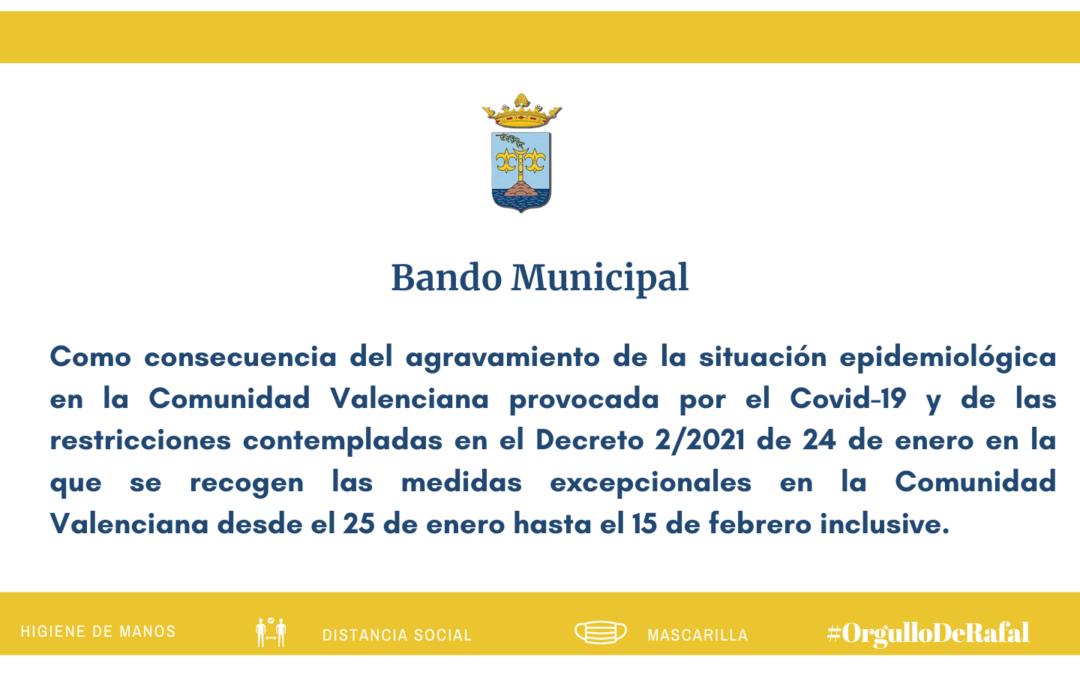 Bando Municipal con medidas excepcionales frente al COVID-19 en la Comunidad Valenciana hasta el 15 de febrero de 2021