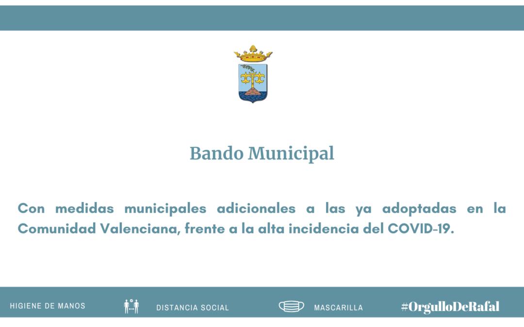 Bando del Ayuntamiento de Rafal que adapta las medidas frente al COVID-19 dictadas el 19 de enero