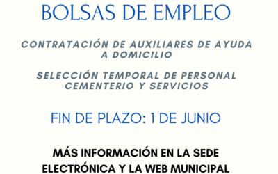 Bolsas de Empleo – Auxiliares de Ayuda a domicilio y Auxiliar encargado del cementerio y mantenimiento