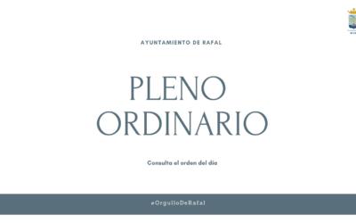 Pleno Ordinario del Ayuntamiento de Rafal, 30 de septiembre de 2021